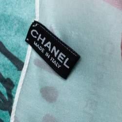Chanel White Coco Sketch Print Silk Chiffon Scarf