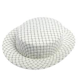 Chanel White Fantasy Tweed Boater Hat L