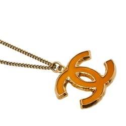 Chanel Gold Tone Enamel CC Pendant Necklace