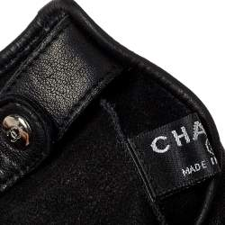 Chanel Black Lambskin Leather Camellia Fingerless Gloves 8.5