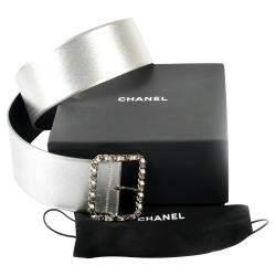 Chanel Metallic Silver Thick W/Chain Buckle Belt