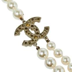 Chanel Pale Gold Tone Faux Pearl CC Layered Necklace