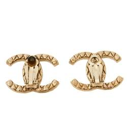 Chanel CC Quilted Gold Tone Clip On Stud Earrings