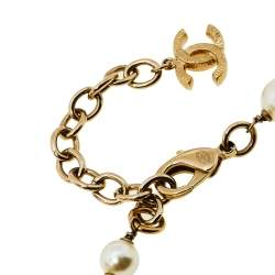 Chanel Metallic Gripoix Faux Pearl CC Charm Necklace