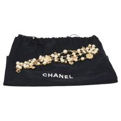 Chanel Gold Tone Faux Pearl Enamel Camellia CC Charm Necklace