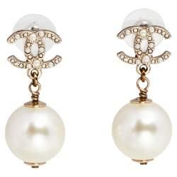 Chanel Pale Gold Tone CC Faux Peal Drop Earrings