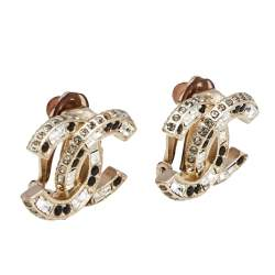Chanel Gold Tone Baguette Crystal CC Clip On Stud Earrings
