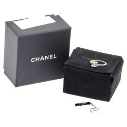 Chanel Pale Gold Tone CC Twisted Rope Ring Size 54.5