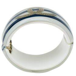 Chanel CC Blue and White Stripe Resin Bangle Bracelet