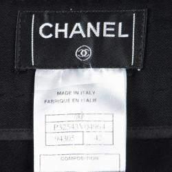 Chanel Black Wool Top Stitch Detail Wide Leg Trousers L