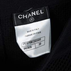 Chanel Black Cotton Tricot Knit Fit and Flare Mini Skirt M