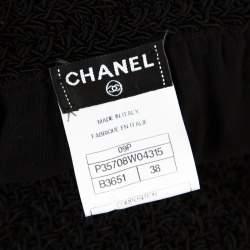 Chanel Black and White Crochet Detail Geometric Textured Skirt M