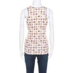 Chanel Pink Heart Printed Ribbed Tank Top M