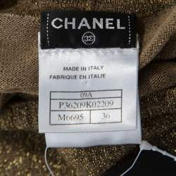 Chanel Metallic Gold Rib Knit Long Sleeve Sweater Dress S