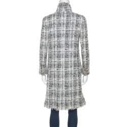 Chanel Grey Silk Blend Tweed Frayed Edge Coat S