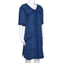 Chanel Blue Boucle Tweed Shift Dress L