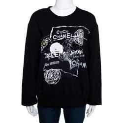 Chanel Black Printed & Embellished Cotton Long Sleeve Sweatshirt XL