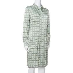 Chanel Vintage Mint Green Checked Silk Shirt Dress L