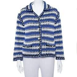 Chanel Multicolor Linen Knit Button Front Jacket M