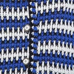 جاكيت شانيل أزرار أمامية تريكو كتان متعدد الألوان مقاس وسط (ميديوم)