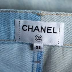 بنطلون جينز شانيل ساق عريضة قصير دنيم لونين مقاس متوسط
