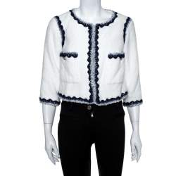 Chanel White Faux Fur Contrast Trim Detail Collarless Jacket S