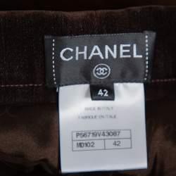 Chanel Brown Velvet Wide Leg Trousers L
