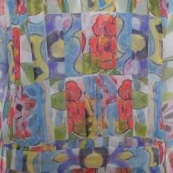 توب شانيل مزين طيات حرير متعدد الألوان مقاس كبير (لارج)