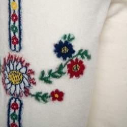 Chanel Cream Floral Wool Leggings L
