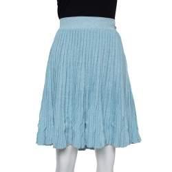 تنورة شانيل قصيرة طيات كتان و كشمير أزرق مقاس وسط (ميديوم)