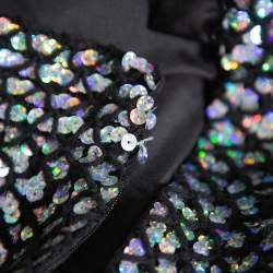 Chanel Black Knit Sequin Embellished Skirt M