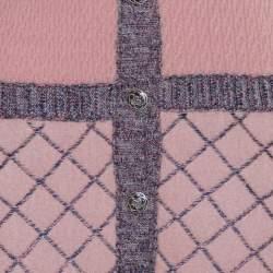 Chanel Pink Silk & Cashmere Button Front Midi Dress M
