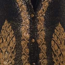 كارديغان شانيل طول أزرار أمامية تريكو جاكار مطبوع ذهبي وأسود مقاس صغير