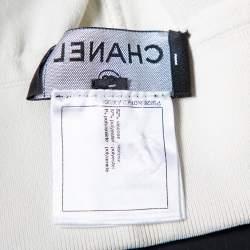 Chanel Cream Knit Side Stripe Detail Wide Leg Trousers M
