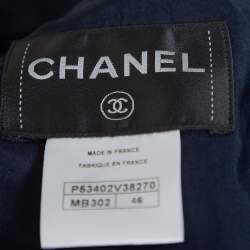Chanel Red & Blue Tweed Button Front Jacket XL