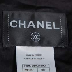 Chanel Black Tweed Sequin Embellished Button Front Jacket XL