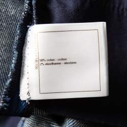 Chanel Navy Blue Striped Denim Tapered Leg Jeans M