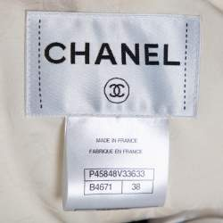 Chanel Monochrome Tweed Double Breasted Cropped Jacket M