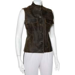 Chanel Vintage Dark Brown Leather Button Front Distressed Vest M