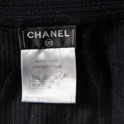 Chanel Black Knit Neck Tie Detail Button Front Mini Dress M