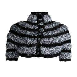 Chanel Black and White Cut Out Detail Bolero Jacket S