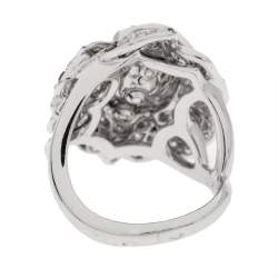 Chanel Pétales de Camélia 0.84ct Oval Solitaire Diamond 18k White Gold and Black Diamond Cocktail Ring Size 51