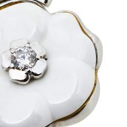 Chanel Camelia Ceramic Diamond 18k White Gold Flower Pendant Necklace