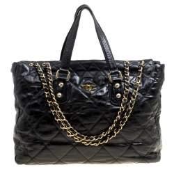 Chanel Black Quilted Glazed Leather Portobello Tote