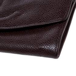 Chanel Maroon Leather CC Timeless Vintage Wallet