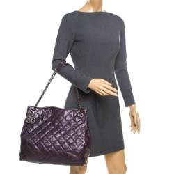 Chanel Burgundy Quilted Caviar Leather Tote