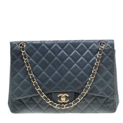 Chanel Blue Quilted Lambskin Leather Classic Maxi Single Flap Bag