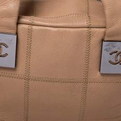 Chanel Beige Quilted Caviar Leather Small Square Stitch Bowler Bag