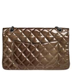 Chanel Brown Quilted Patent Leather Reissue 2.55 Classic 227 Flap Bag