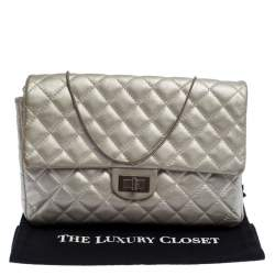 Chanel Silver Quilted Leather Reissue Chain Clutch